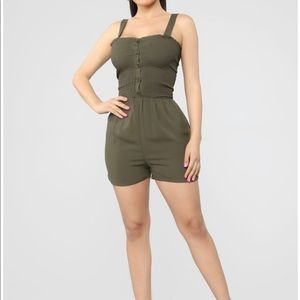 FashionNova Shelley Smocked Romper - Olive